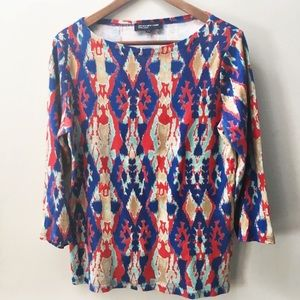 Jones New York vibrant tribal knit 3/4 sleeve top